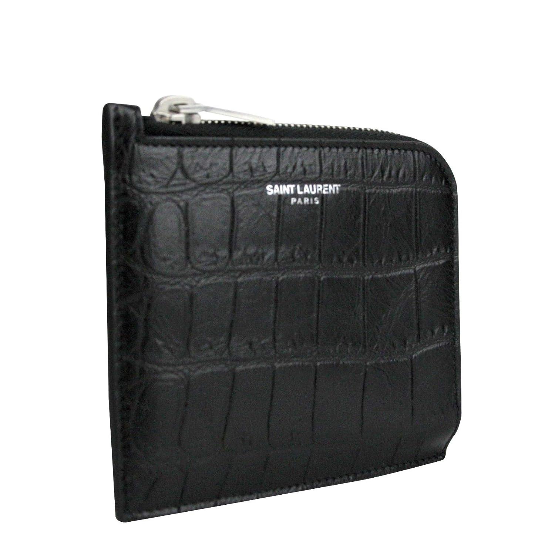 c438012728 Saint Laurent YSL Men's Imprint Black Leather Crocodile Card Case ...
