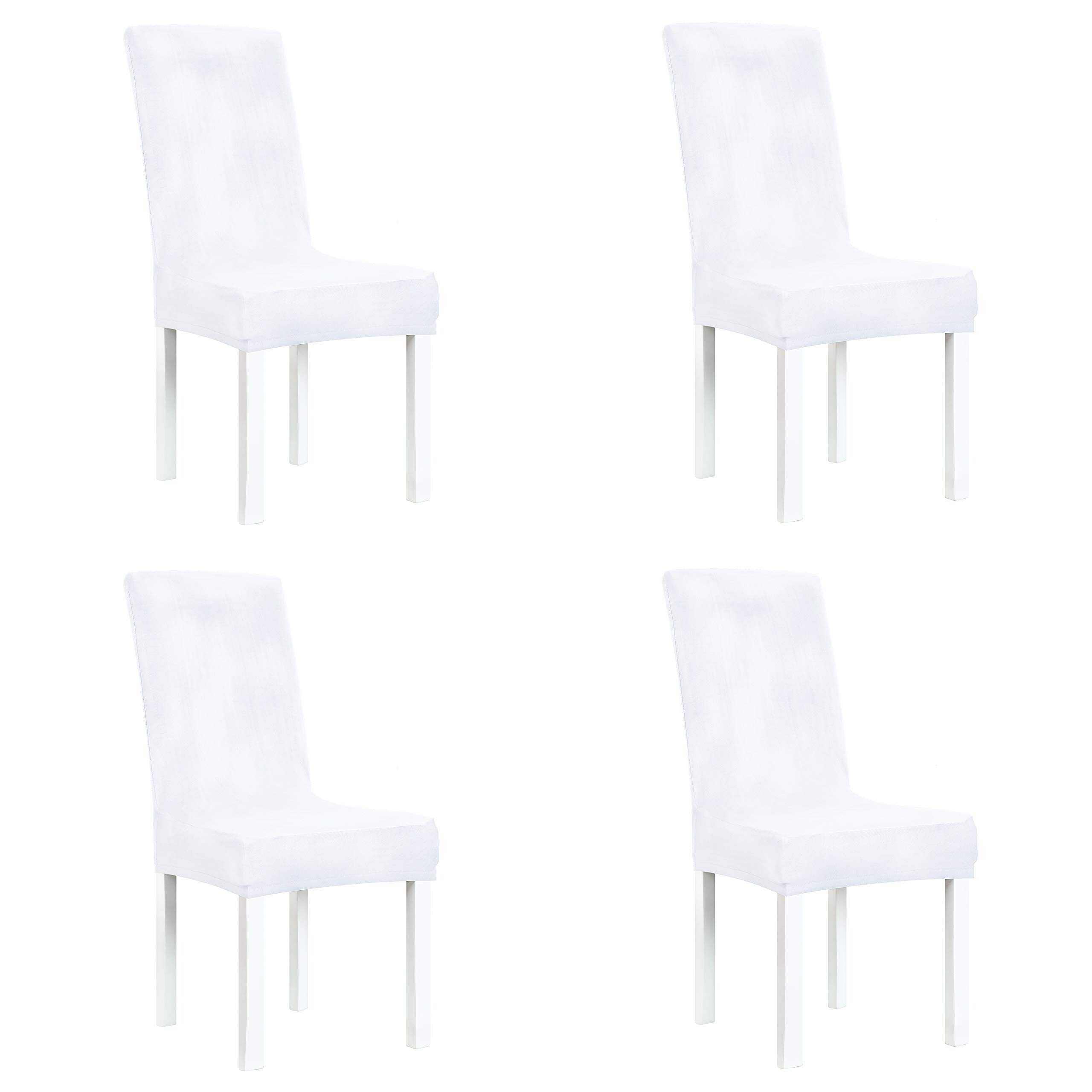 White Dining Room Chair Covers: Obstal White Stretch Spandex Dining Room Chair Covers
