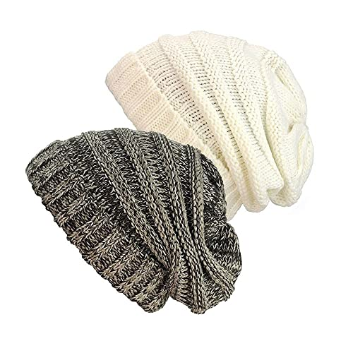 NYfashion101 Exclusive Oversized Baggy Slouchy Thick Winter Beanie Hat (Brown Mix & Ivory)