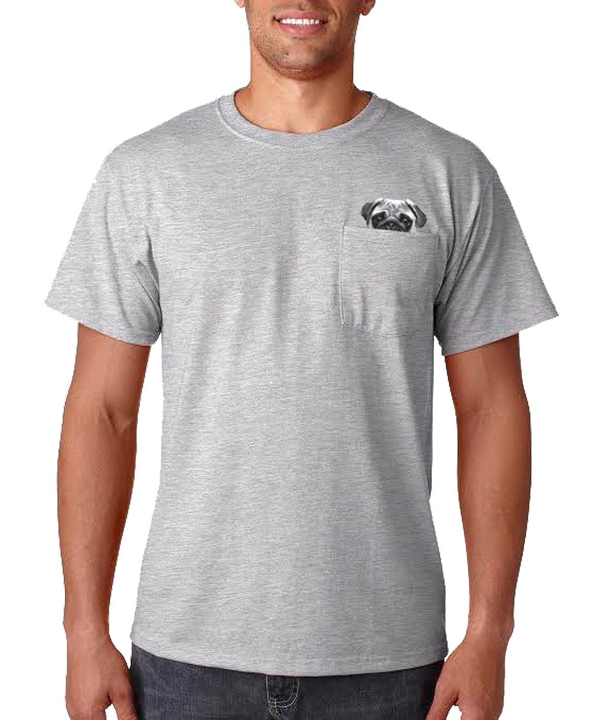cadd07d11af3 Amazon.com: Mens Pocket Pug Tshirt Funny Cute Pet DogLover Peeking Animal  Tee: Clothing