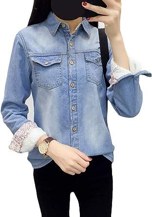 DressUWomen Botones De Jeans Embolsados De Terciopelo De Manga Larga Camisa De Espesado Para Mujeres: Amazon.es: Ropa y accesorios