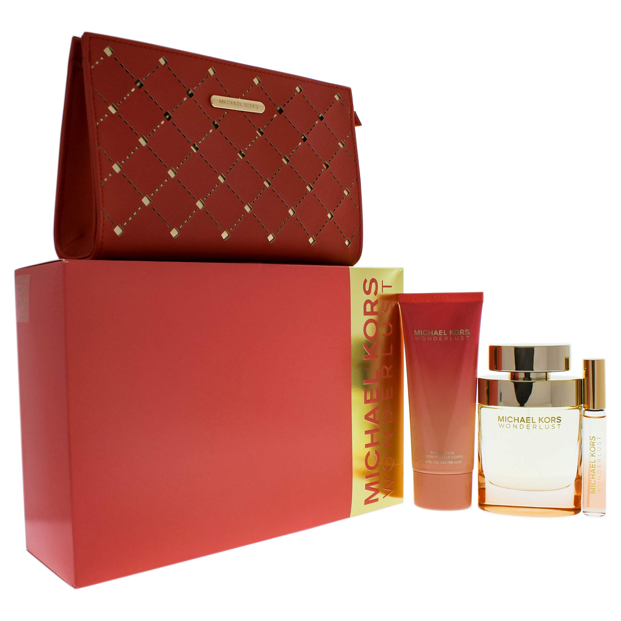 Michael Kors Wonderlust for Women 4 Piece Gift Set With Eau De Parfum Spray, Eau De Parfum Rollerball