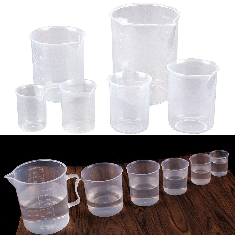 Fashionbabies 6 PCS Measuring Cup Plastic Beaker Set Transparent Labs Graduated Beakers 50ml 100ml 150ml 300ml 500ml 1000ml