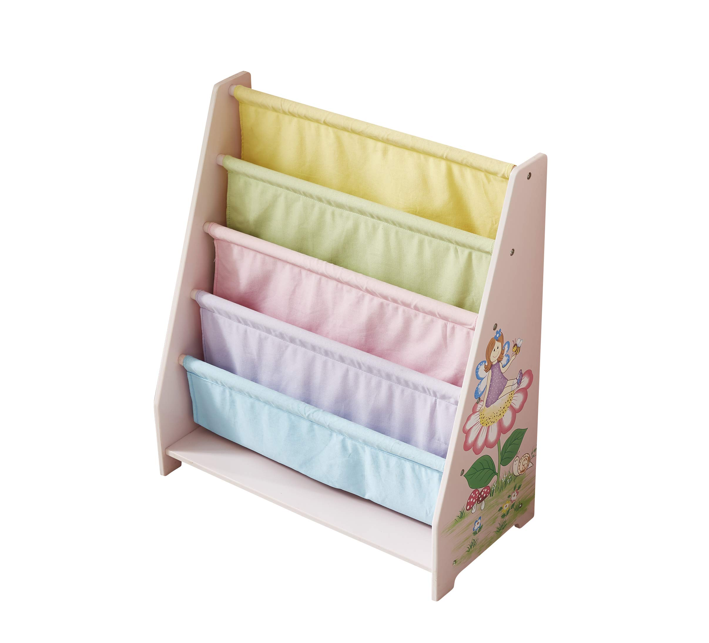 WODENY Childrens Bookshelf Canvas, Wooden Kids Book Shelf, Sling Book Rack for Toddlers Girls Boys Ages 3+ (Pink)