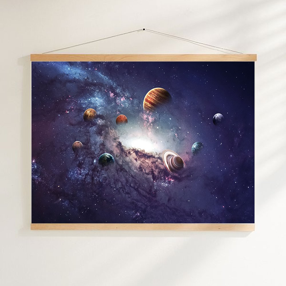 tidy decor Planets Solar System Galaxy Universe Wall Art Wall Hanging Pictures Canvas Wooden Scroll Paintings For Living Room 15.7'' L X 11.8'' W
