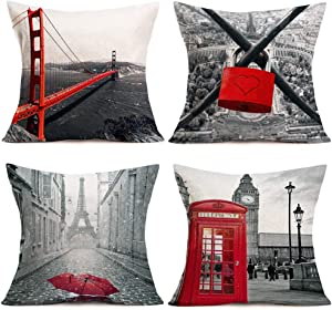 "Fukeen Set of 4 Cotton Linen Throw Pillow Covers American Golden Gate Bridge,French Paris EiffelTower,London TelephoneBooth Travel Decorative Pillow Cases Home Decor 18""x18"" Pillowcases Red Grey"