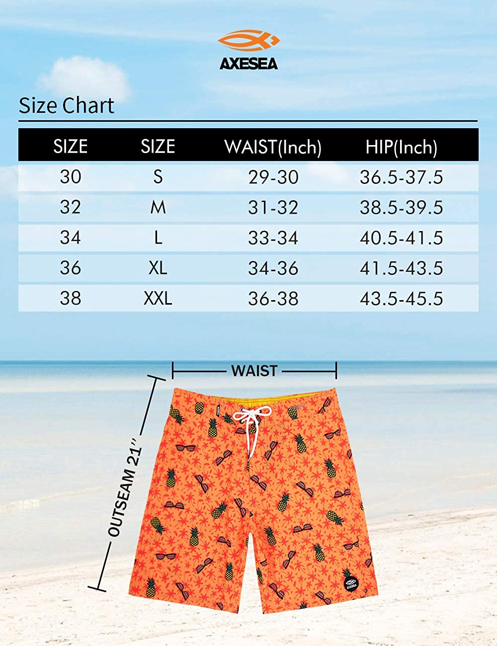 AXESEA Mens Swim Trunks Quick Dry Surf Long Elastic with Pockets Swimwear Bathing Suits No Mesh Lining