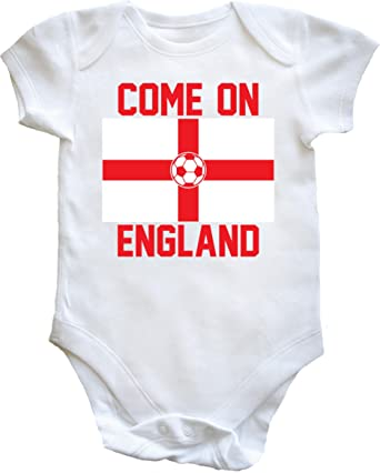 6a377b254 Hippowarehouse Come on England Football Flag Baby Vest Bodysuit (Short  Sleeve) Boys Girls: Amazon.co.uk: Clothing