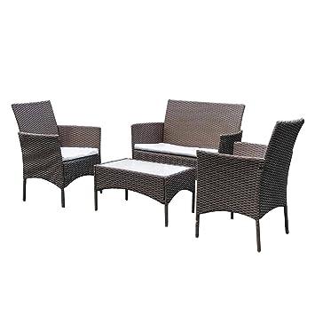 SoBuy S0009-BR Conjunto de ratán,Conjunto Muebles de Jardín Cafetería Sofá Exterior,Set de 2 Sillones, 1 Sofá y 1 Mesa,ES