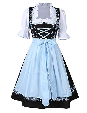 Amazon kojooin womens german dirndl dress 3 pieces oktoberfest kojooin womens 3 pieces costumes embroidery oktoberfest dirndl dress black blue 34 solutioingenieria Images