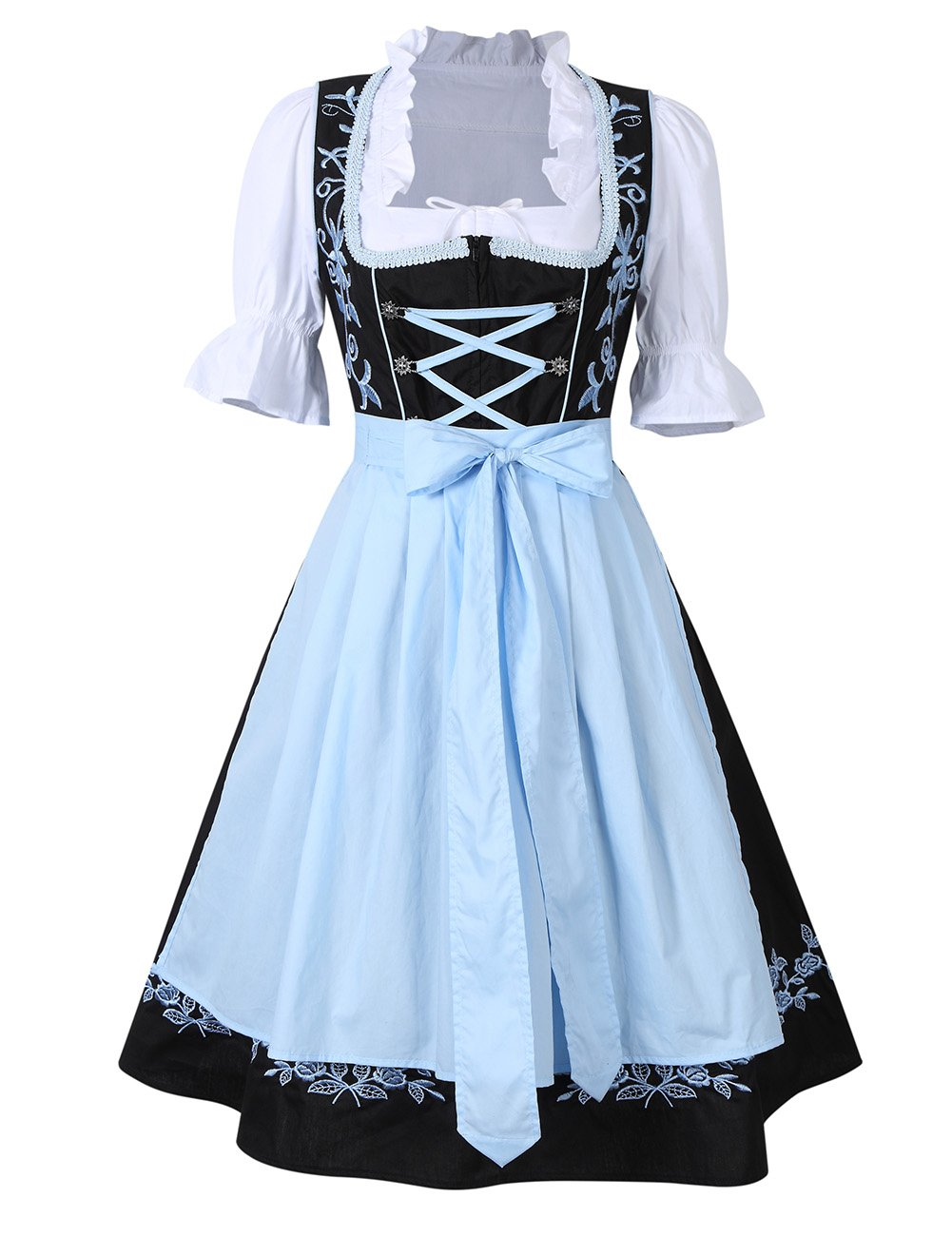 GloryStar KoJooin Women's 3 Pieces Costumes Embroidery Oktoberfest Dirndl Dress Black-Blue 38