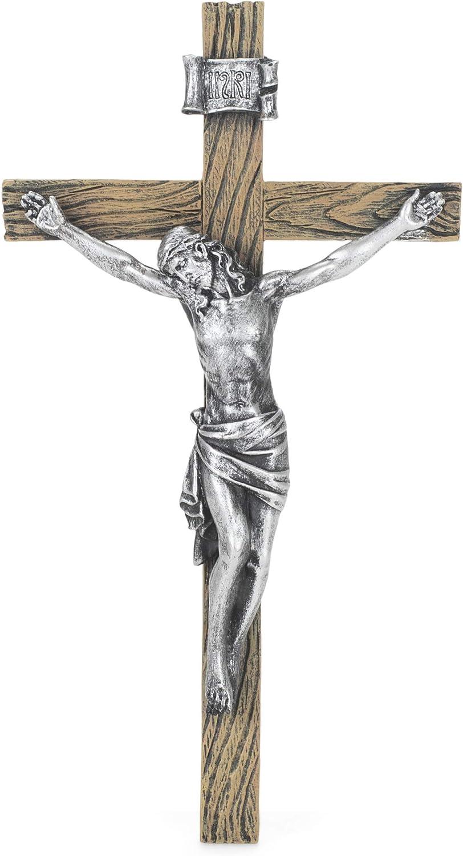 """roman 8.5"""" Antique Silver Wall Crucifix (Joseph's Studio) 6227-2"""