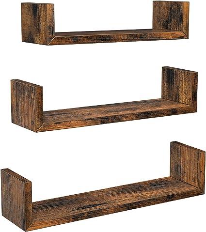 Vasagle U Vormige Wandplanken Set Van 3 Zwevende Planken In Vintage Stijl Wandmontage Voor Decoratie Woonkamer Slaapkamer En Kantoor Vintage Bruin Lws034x01 Amazon Nl