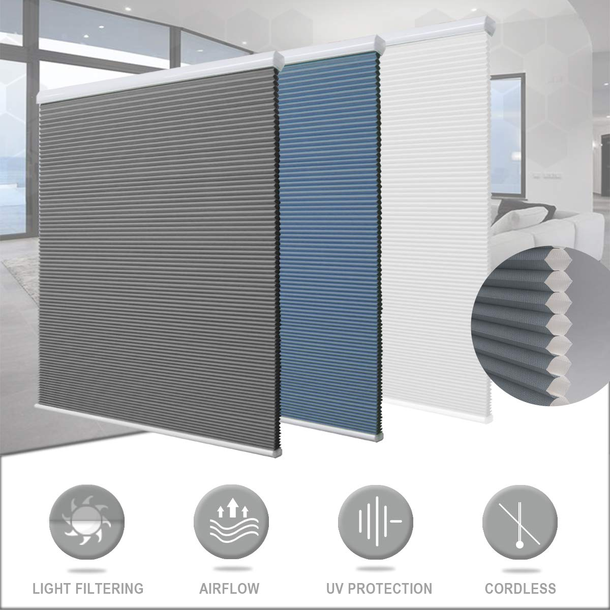 Matinss Cellular Shades Cordless Window Blinds Honeycomb Shades for Home and Windows Bedroom, Light Filtering Grey-White, 29x64 by Matinss