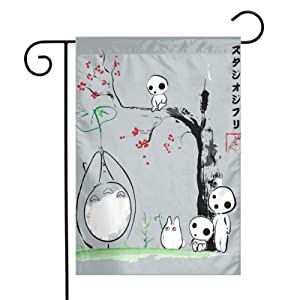 Studio Ghibli Growing Trees Sumie Totoro Garden Flags Indoor Yard Flag Double Sided Outdoor Farm Decor Welcome Home 12 X 18 Inch