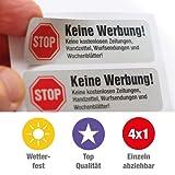 4 Keine Werbung Aufkleber im hochwertigen Edelstahl-Look - Einzeln abziehbar (Keine kostenlosen Zeitungen, Handzettel, Wurfsendungen und Wochenblätter!) immi.de®