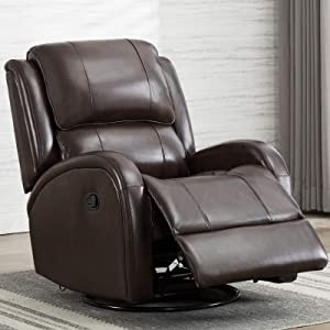 IOMOR Swivel Rocking Glider Recliner Chair Manual Gaming Faux Leather Chair,Single Modern Sofa Home Theater Seating for Living Room (Brown)