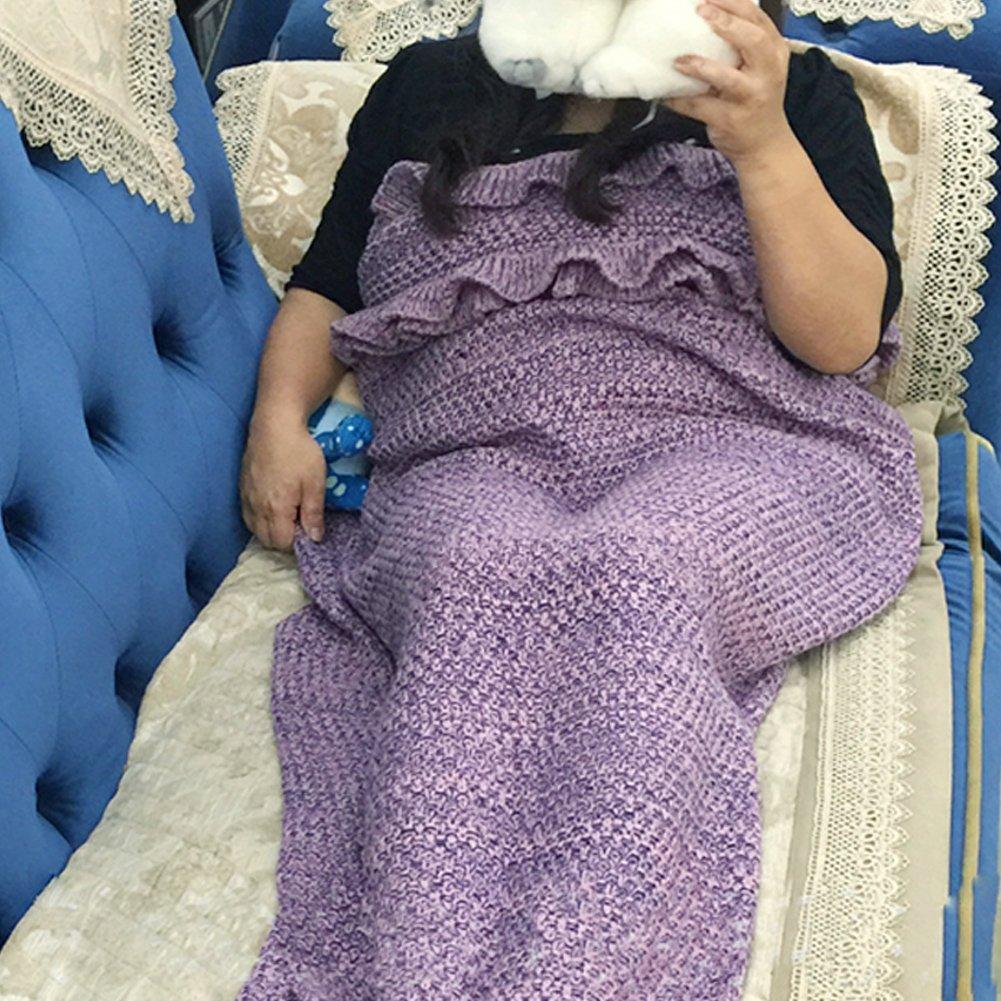 melamall hecho a mano manta de la Sirenita suave tejer cola saco de dormir para adultos 71 * 31inch y # xFF08; 180cmx90 cm y # xFF09;: Amazon.es: Hogar