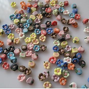 Amazon Eft 50pcs Mixed Colorful Acrylic Flower 3d Nail Art