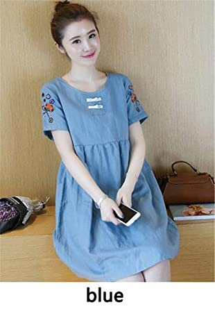 18b105428b00 KDHJJOLY Comfortable Plus Size Linen Cotton Maternity Dresses Summer  Embroidery Maternity Clothes for Pregnant Women Pregnancy