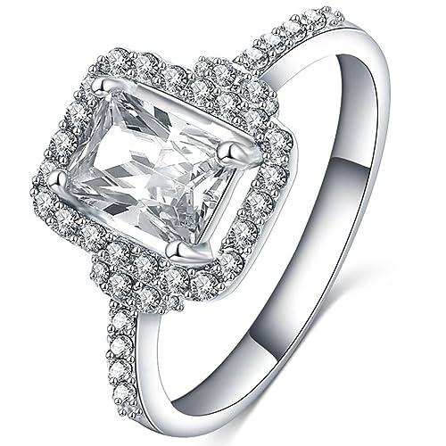 fendina joyas para mujer Gorgeous Circonita Love corte princesa anillo de promesa Eternity, compromiso,