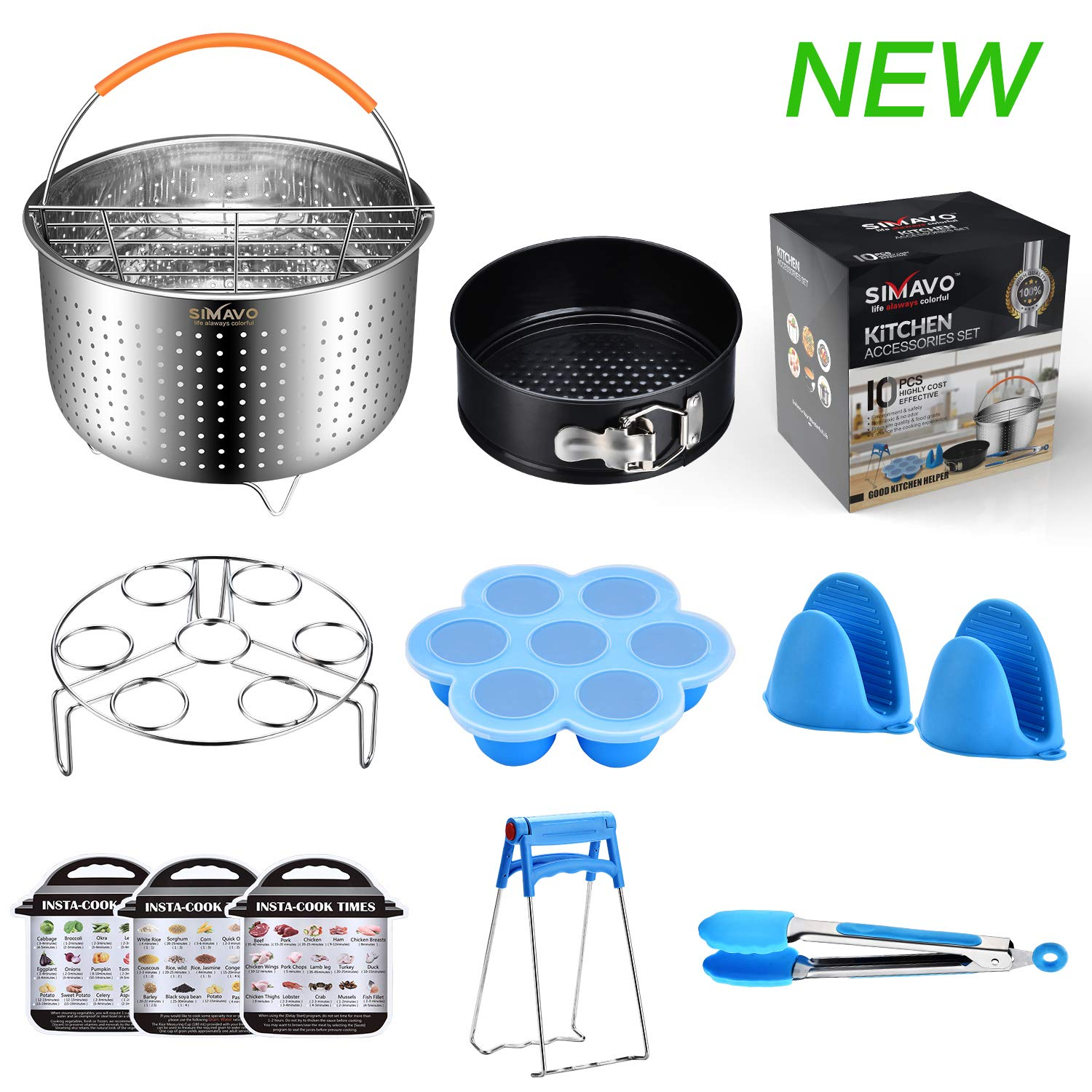 SIMAVO Pressure Cooker Accessories Set Compatible with Instant Pot 6,8 QT -New Steamer Basket | Egg Steamer Rack | Springform cake Pan | Egg Bites Mold | Magnet cooking time and more, 10+Pcs