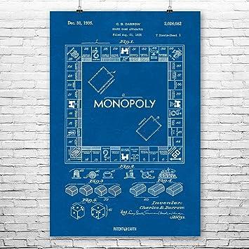 Amazon monopoly board game poster patent art print blueprint 8 monopoly board game poster patent art print blueprint 8quot malvernweather Choice Image