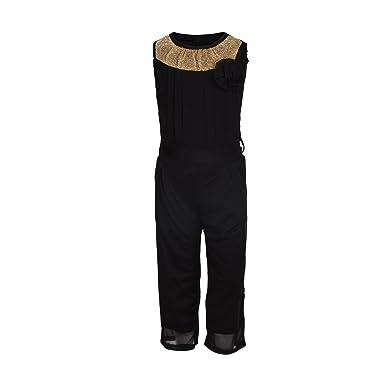 a334486858a2 Aarika Girl s Self Design Party Wear Jumpsuit (C-120-BLACK 38 12-13 Years
