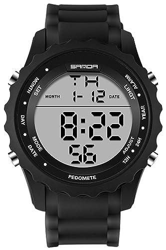 Reloj deportivo para hombre con cronógrafo digital, color negro, resistente al agua: Amazon.es: Relojes