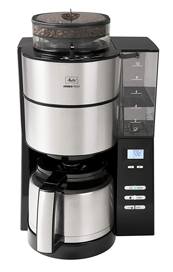Melitta 1021-12, molinillo y termo integrados, cafetera de filtro Black AromaFresh Therm, acero inoxidable