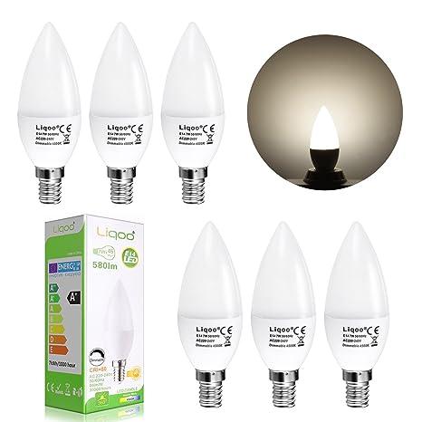 Liqoo® 6x 7W Regulable Bombillas LED E14 Vela Bulbo Lámpara Bajo Consumo Blanco Neutral Natural