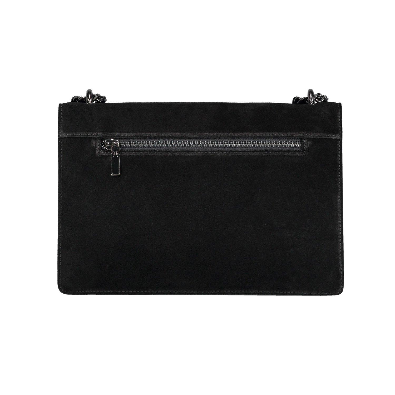 dd022744442 RACHEL Italian Baugette clutch mini wallet cross body bag with nickel chain  smooth stiff leather and suede (black)  Handbags  Amazon.com