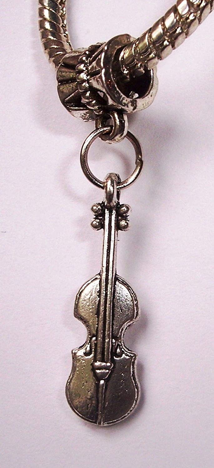 Silver Violin Fiddle Orchestra Dangle Bead Charm Fits European Bracelet NEW