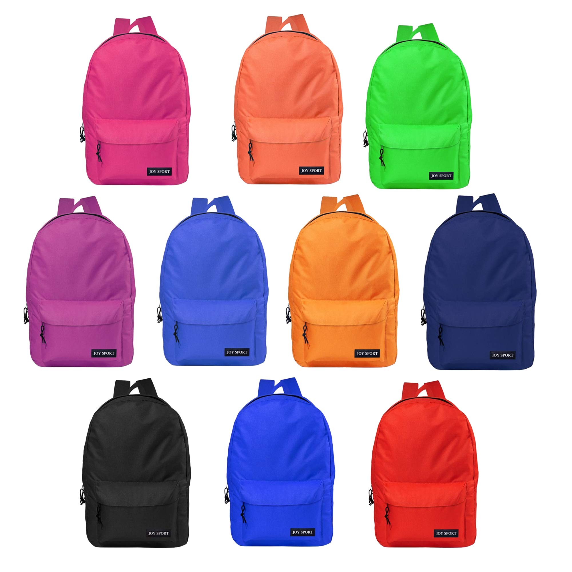 17 Inch Wholesale Basic Backpack in 10 Assorted Colors - Bulk Case of 24 Bookbags