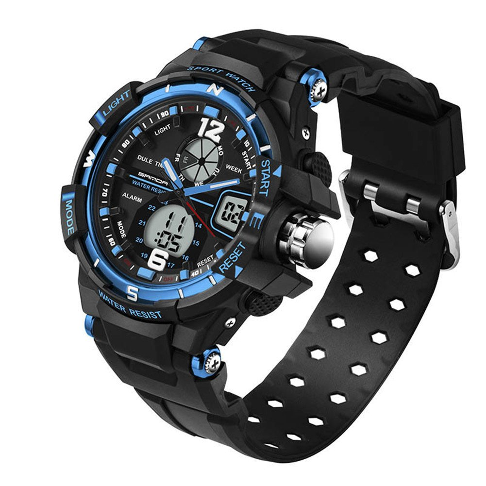 5ATM Multi-function Junior's Outdoor Sports Digital Dual Time Waterproof Watches Black Blue Ages 11-20 by GXFCO