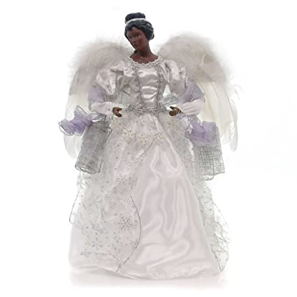 African American Angel With Purple Sash Christmas Tree Topper 16