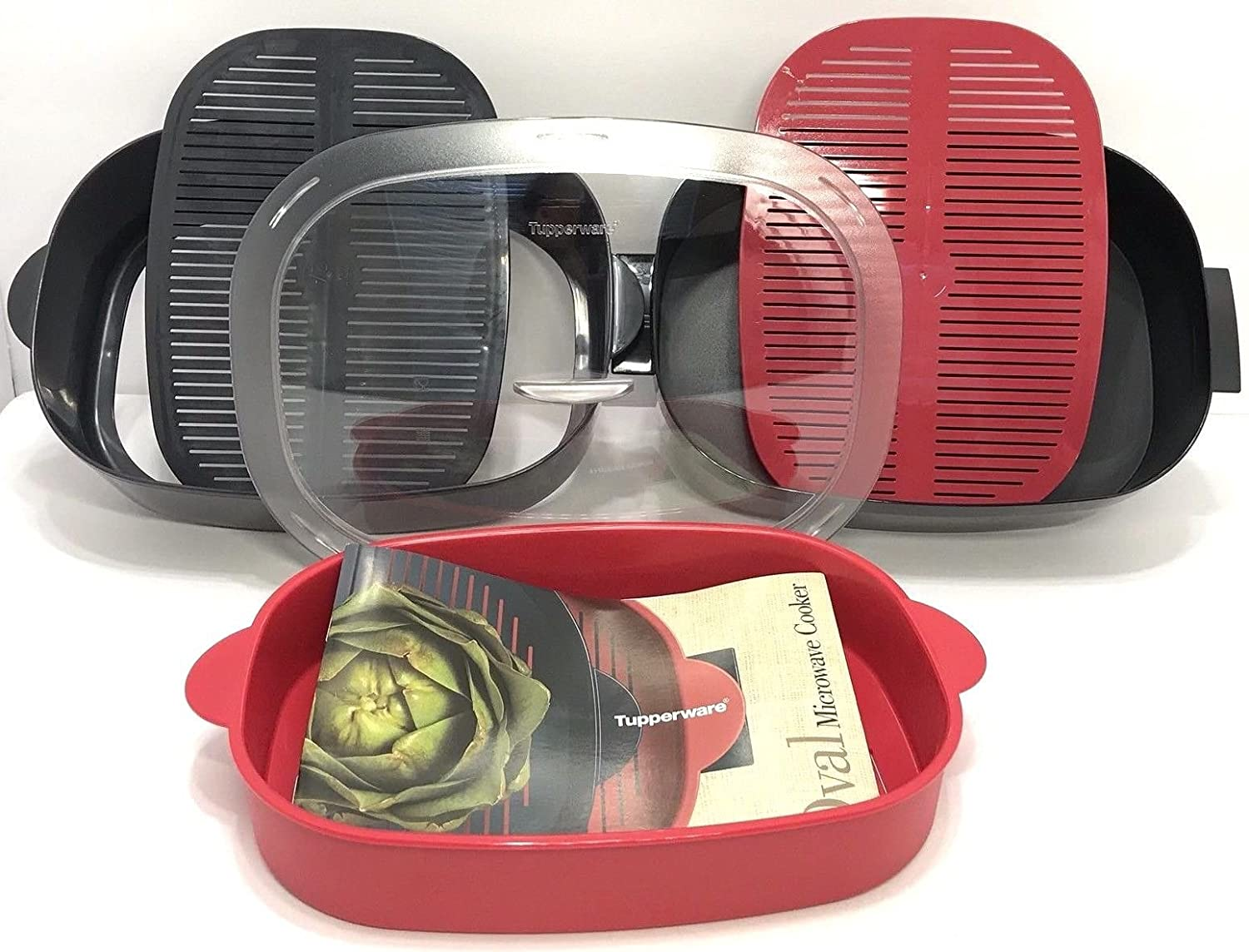 Tupperware Oval Microwave Stack Cooker Set with Recipes Red and Black