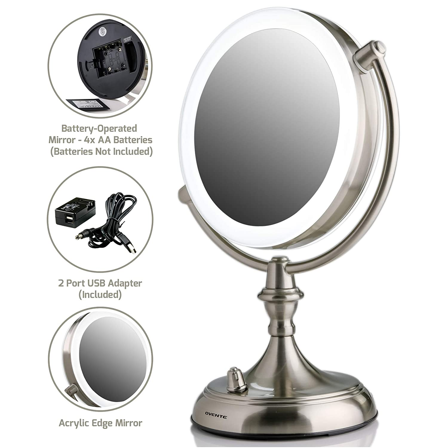 OVENTE LED Lighted Tabletop Makeup Mirror with Acrylic Edge, 7.5 Inch, Dual-Sided 1x/10x Magnification, Battery or USB Adapter Operated, Nickel Brushed (MGT75BR1X10X)