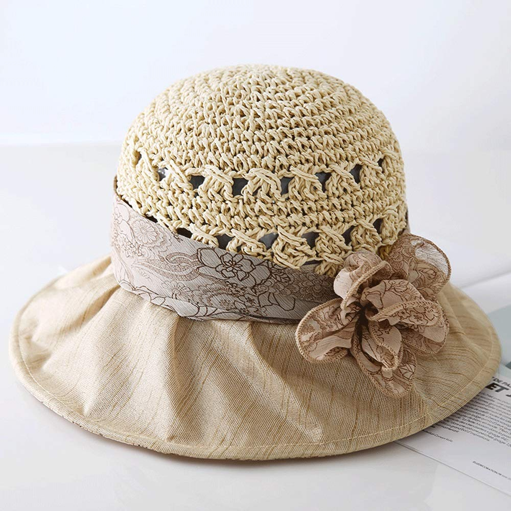 YD Hat  Women's Summer Sun Hat Travel UV Predection Casual Beach Hat Straw Hat Folding Sun Hat (3 colors)    (color   Beige)