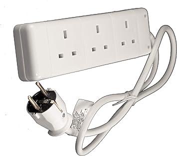 Europa Schuko tipo E/F Adaptador de viaje adaptador Cable de extensión 3 x enchufes de Reino Unido, Francia, Alemania, Italia, España, Bélgica etc.: Amazon.es: Electrónica