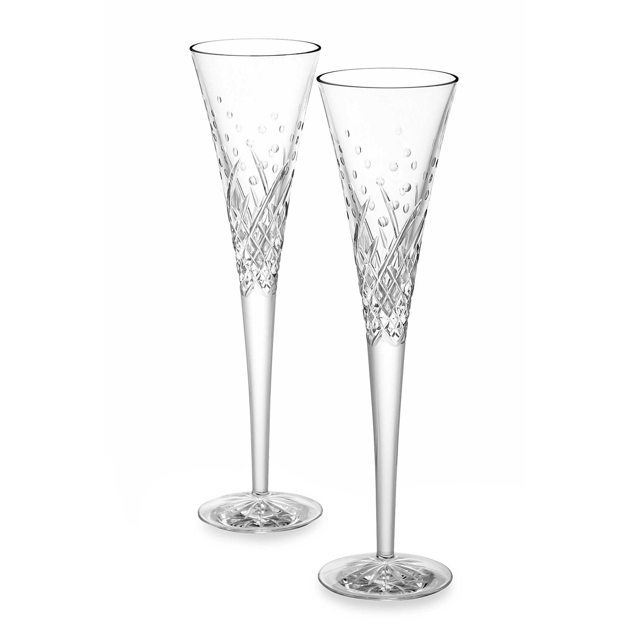 Waterford Crystal Wishes Happy Celebration Pair of Flutes