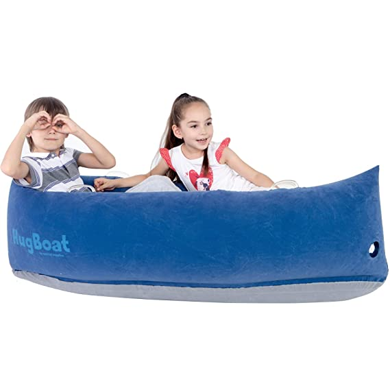Special Supplies Inflatable Compression Boat Lounger for Kids, Sensory Needs Therapy and Reading Lounger, Air Pump and Repair Kit