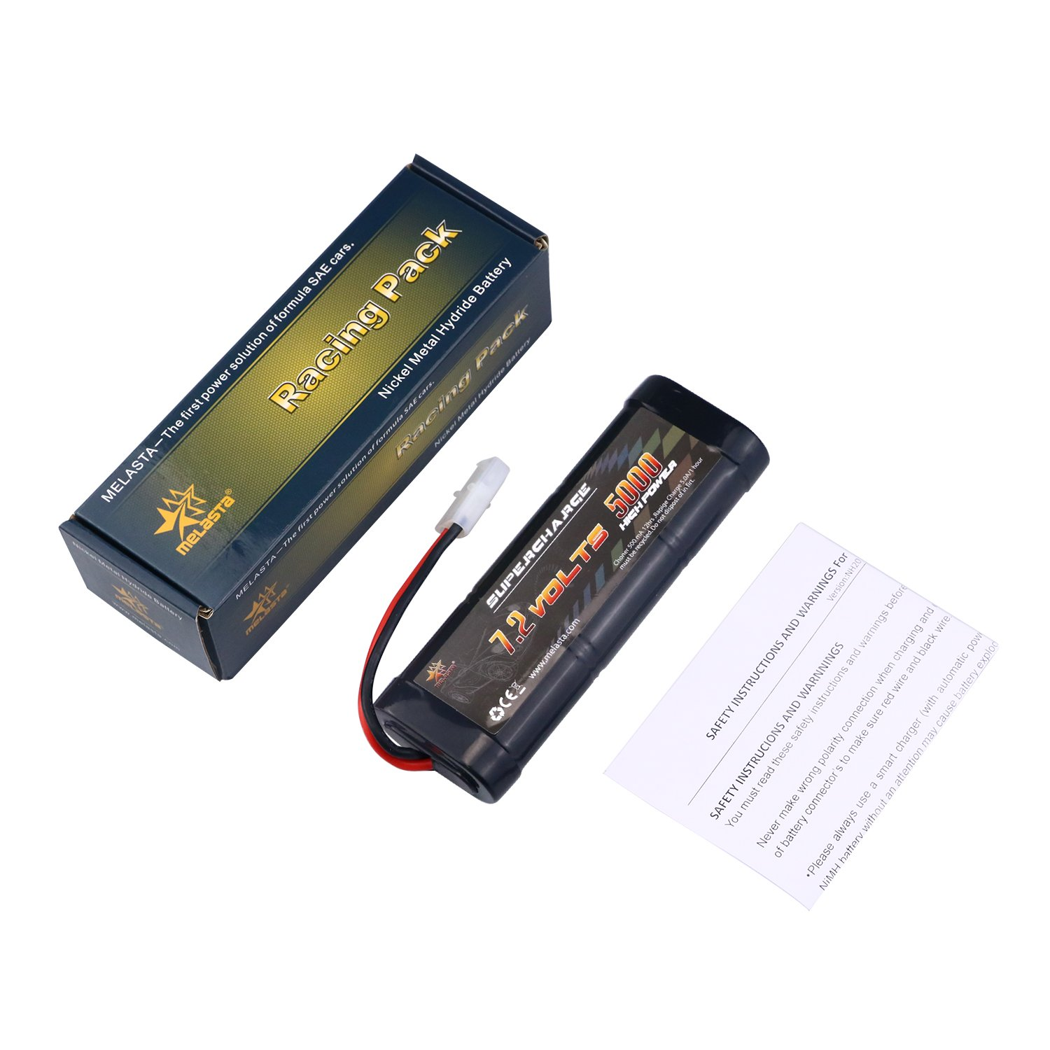 Melasta 7.2V 5000mAh Ni-MH High Power Battery Packs with Tamiya Discharge Connector for RC Racing Cars Boat Aircraft melasta corporation Limited RC72-50NH