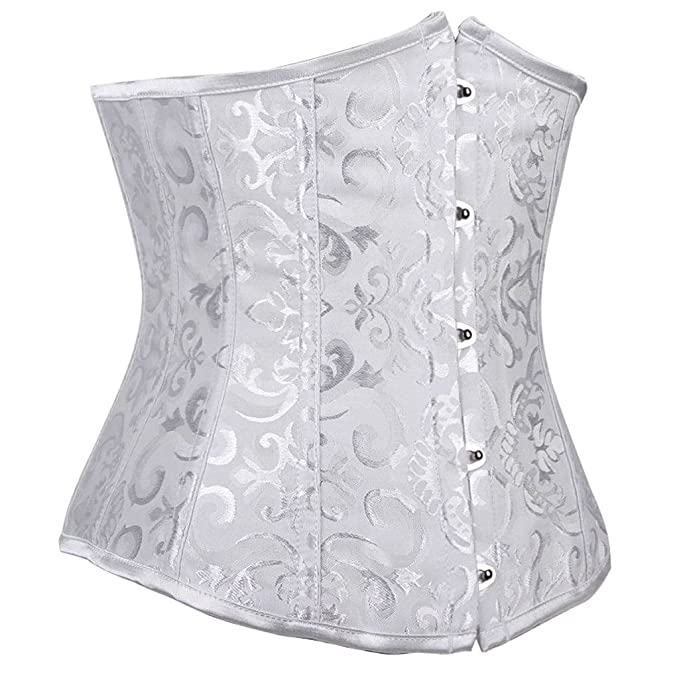 16d5edf810a Everbellus Womens 24 Spiral Steel Boned Satin Underbust Waist Training  Brocade Corset at Amazon Women s Clothing store