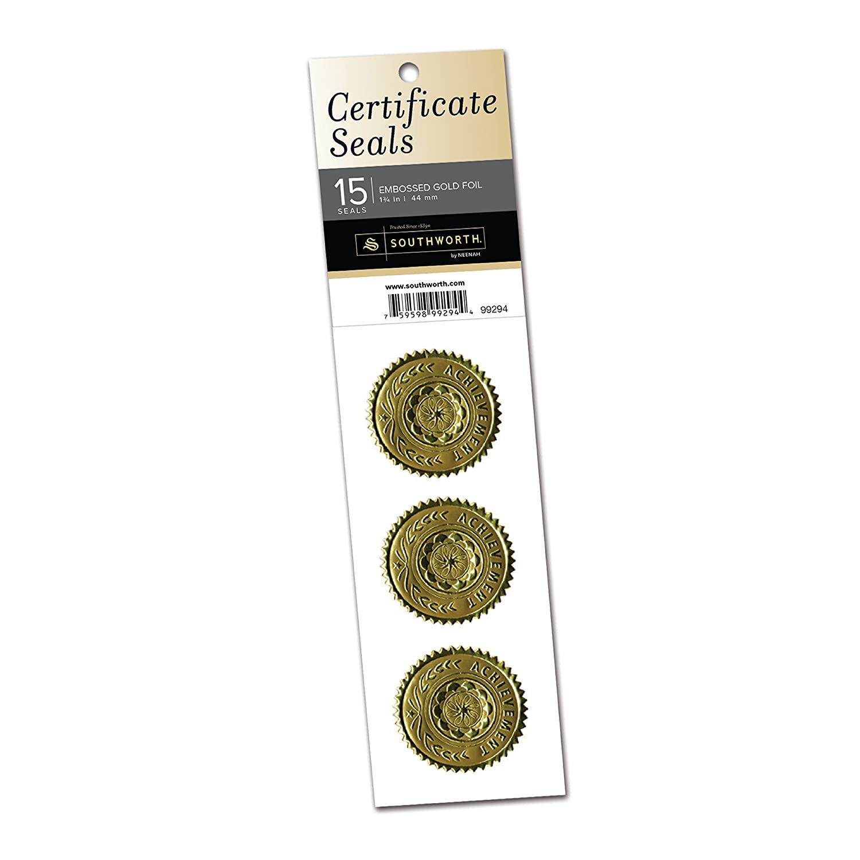 Southworth certificate Seals, rotondo, 4,4cm, 15-count, oro (99294) Neenah Paper (OP)