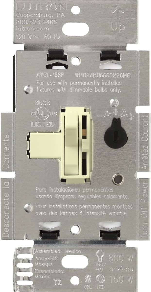 White Lutron TGCL-153PH-WH Toggler CFL//LED Single-Pole//3-Way Toggle Dimmer