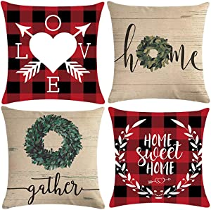 ULOVE LOVE YOURSELF Home Sweet Home Decorative Throw Pillow Covers Red Buffalo Plaid Farmhouse Decor Olive Branch Spring Cushion Covers 18×18 Inches,4Pack for Sofa Couch Porch