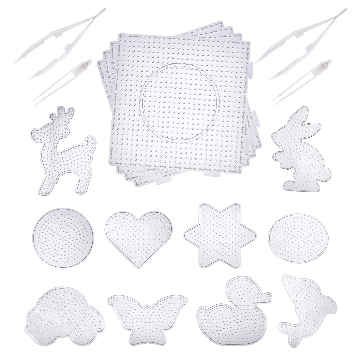 Canomo Fuse Beads Boards 4 Pack 5 mm Large Square Clear Plastic Pegboards 10 Pieces 5 mm Small Cute Fuse Beads Pegboards with 4 Pieces Fuse Bead Tweezers