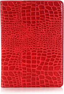 iPad Air 3rd 10.5 inch 2019 Case for Women, iPad Pro 10.5 inch Case, DMaos Crocodile Reflector Leather Stand Folio Case Cover, Auto Sleep/Wake, Document Card Holder Wallet - Red