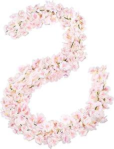 Omldggr 2 Pack Artificial Cherry Blossom Flowers Garland Hanging Vine Garland Flower Garland for Wedding Wreath Wedding Arches for Home Garden Party Outdoor Decor(Pink)